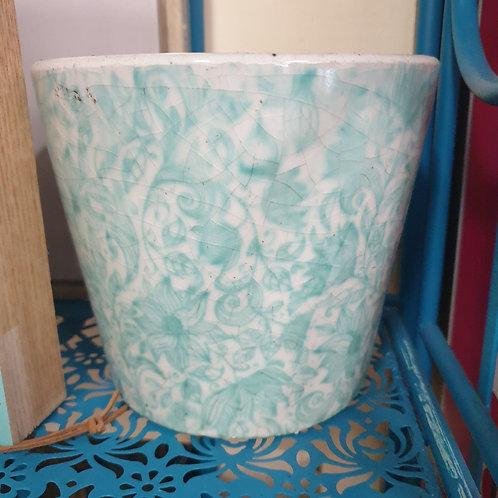 Aqua Floral Pot