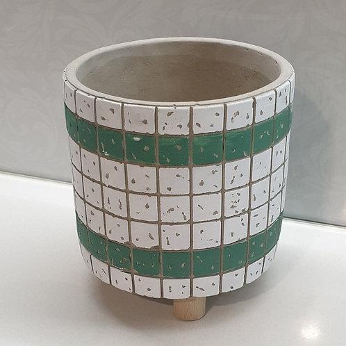 Green & White Tile Pot