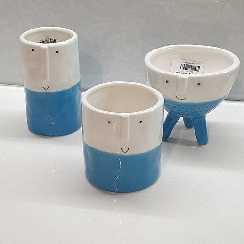 Blue White Cactus Pots