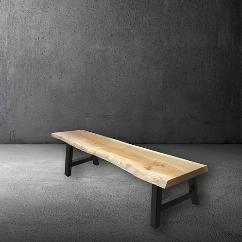 Apex Oak & Steel Live Edge Bench