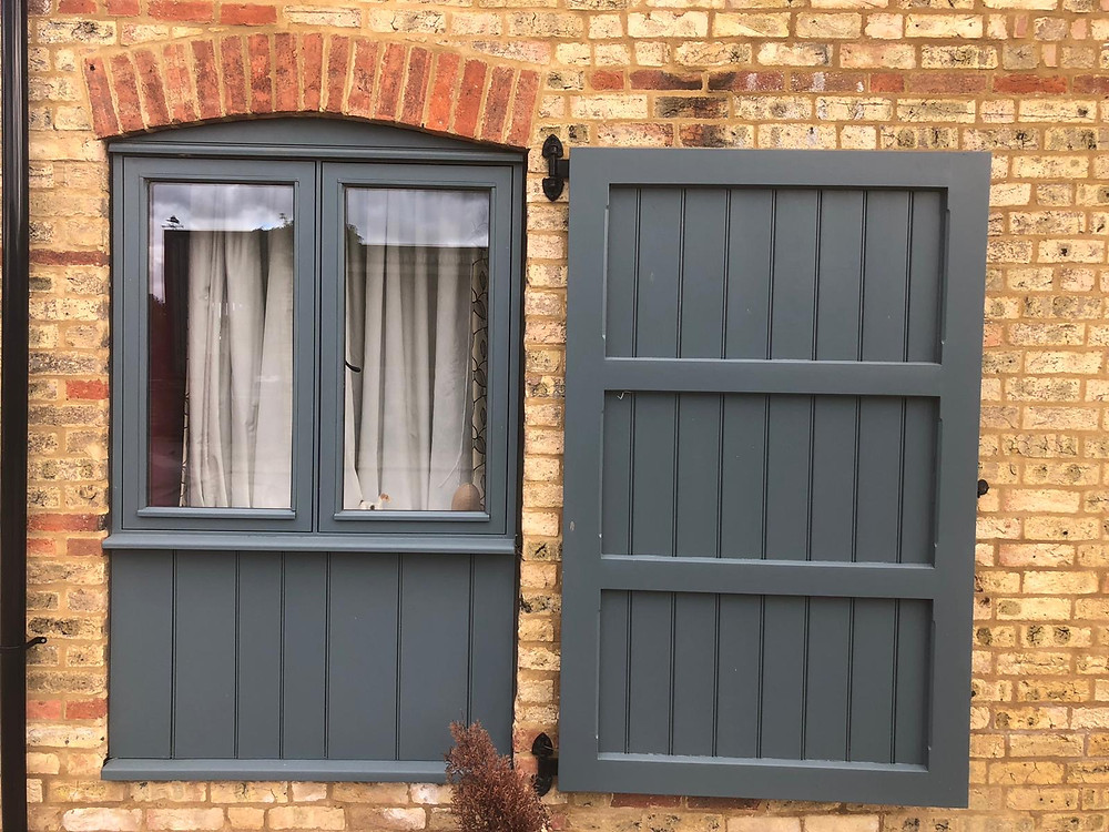 High Performance Traditional Flush Casement Window in 'Inchrya Blue' installed in Barn Conversion