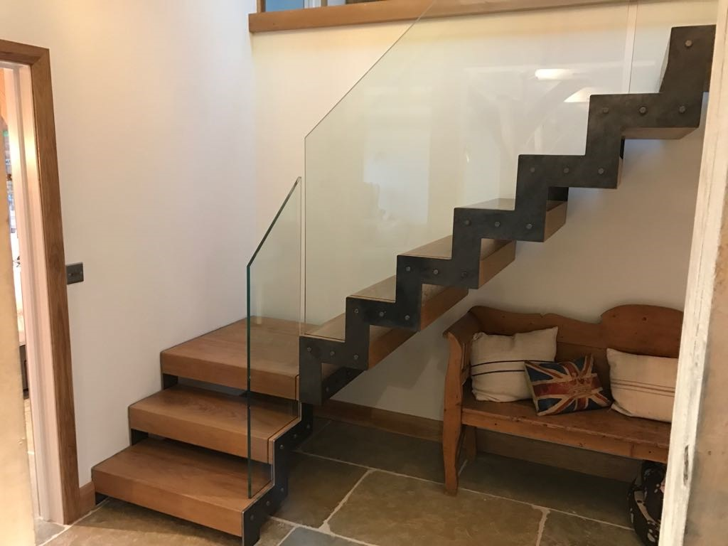 Oak, Metal and Glass Staircase