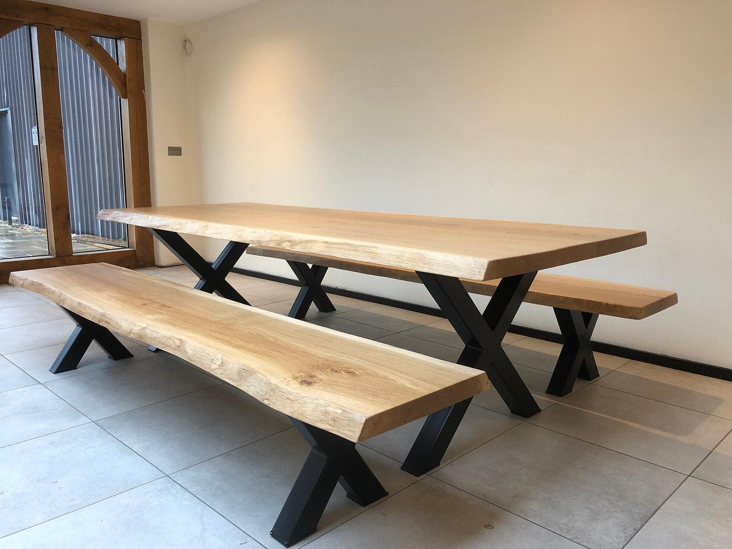 Oak & Steel Traverse Live Edge Table Set