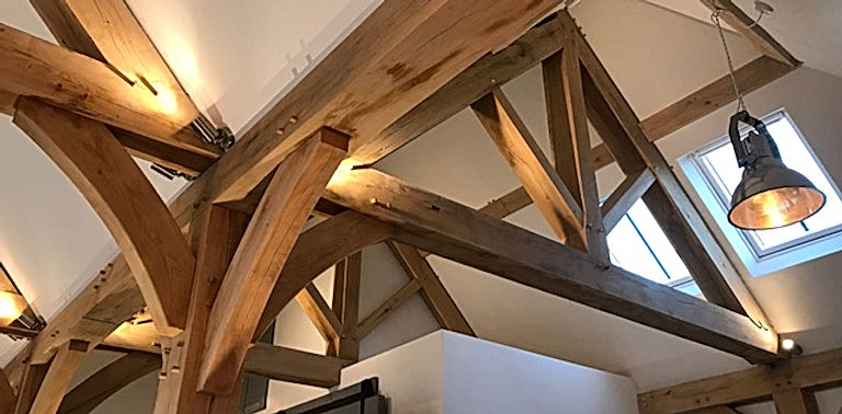 Internal Oak Frame Skeleton inside Oak Framed New Build House