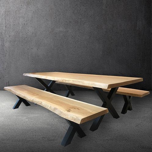 Traverse Oak & Steel Live Edge Table Set