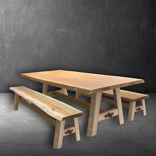 All Oak Wilding Live Edge Table Set
