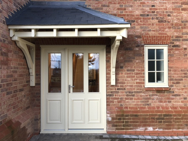 New Build: Front Entrance Door and Sidelight with Painted Hardwood Canopy