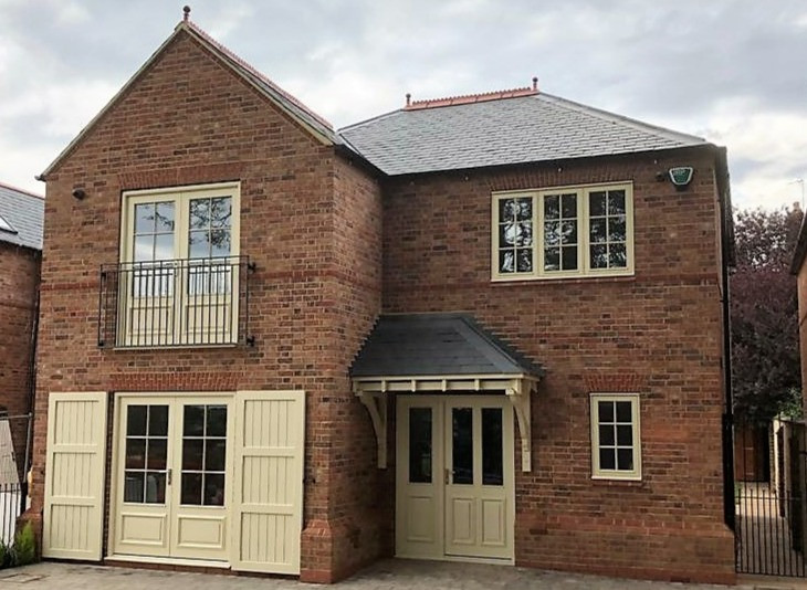 New Build: Front Entrance, Canopy, Bi Folding Doors, Shutters and Casement Windows by Oak Country Joinery