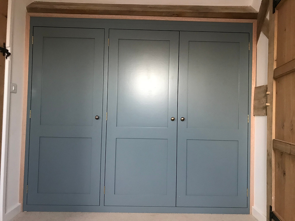 Shaker style wardrobes factory finished in 'Hague Blue'