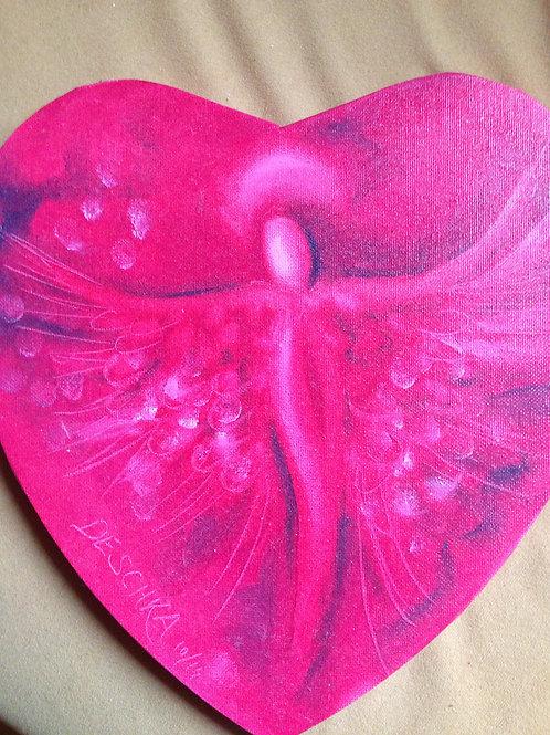 Engel auf Herzleinwand, rot