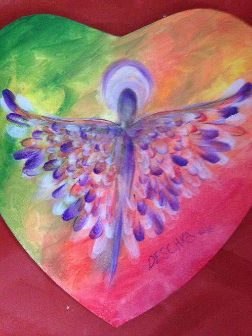 Engel auf Herzleinwand, bunt