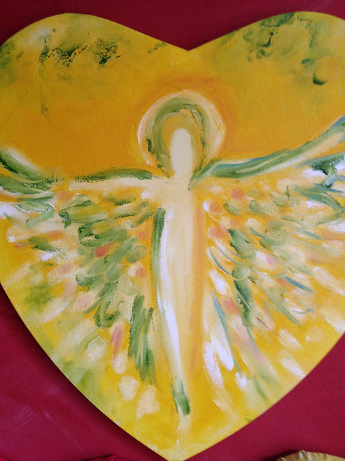 Engel auf Herzleinwand, gelb