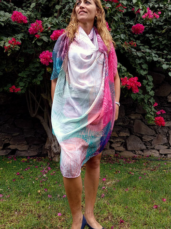 colourful tropical pattern silk scarves
