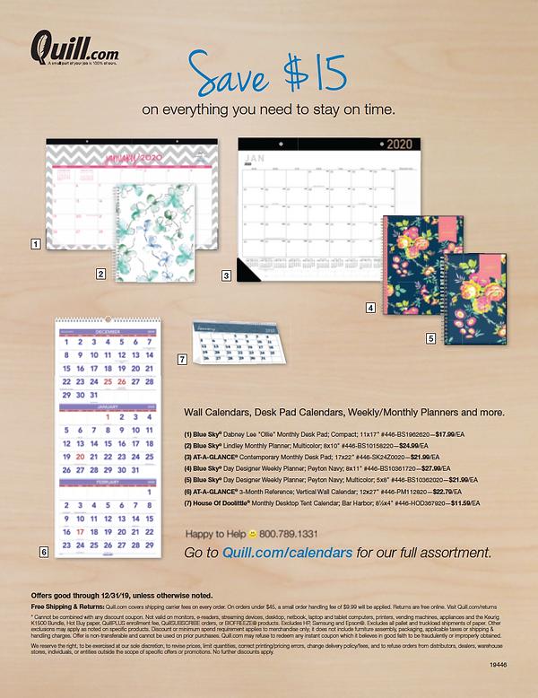 Quill Calendar Package Stuffer