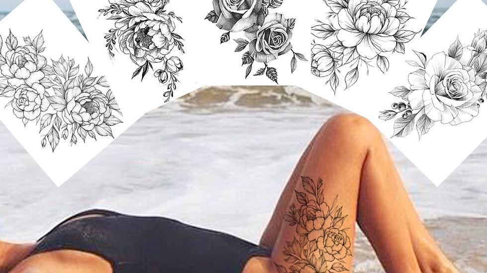 Sexy Flower Temporary Tattoos for Women Body Art Painting Arm Legs Tattoos