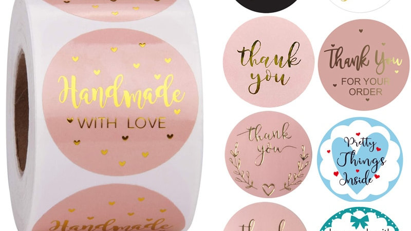 24Types Pink Label Stickers Foil Thank You Stickers 1'' 500pcs