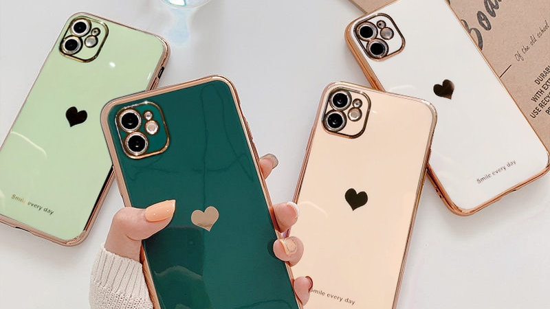 Electroplated Love Heart Phone Case for iPhone 12Pro 12 11 Pro Max XR XS X XS