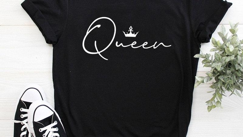 9 Colors Crown Queen Letter Print T Shirt Women