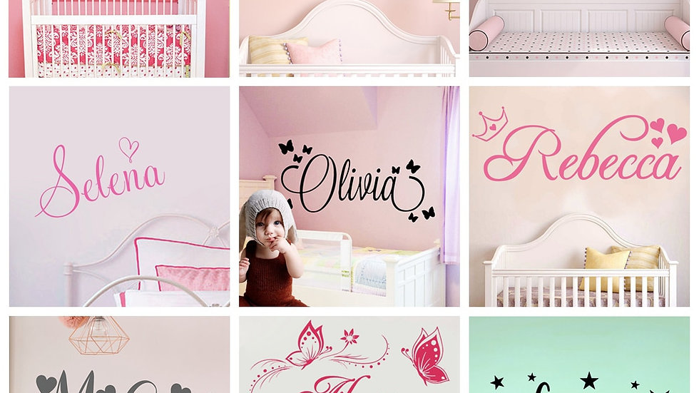 Personalized Custom Name Butterfly Wall Sticker Wallpaper for Nursery an Bedroom