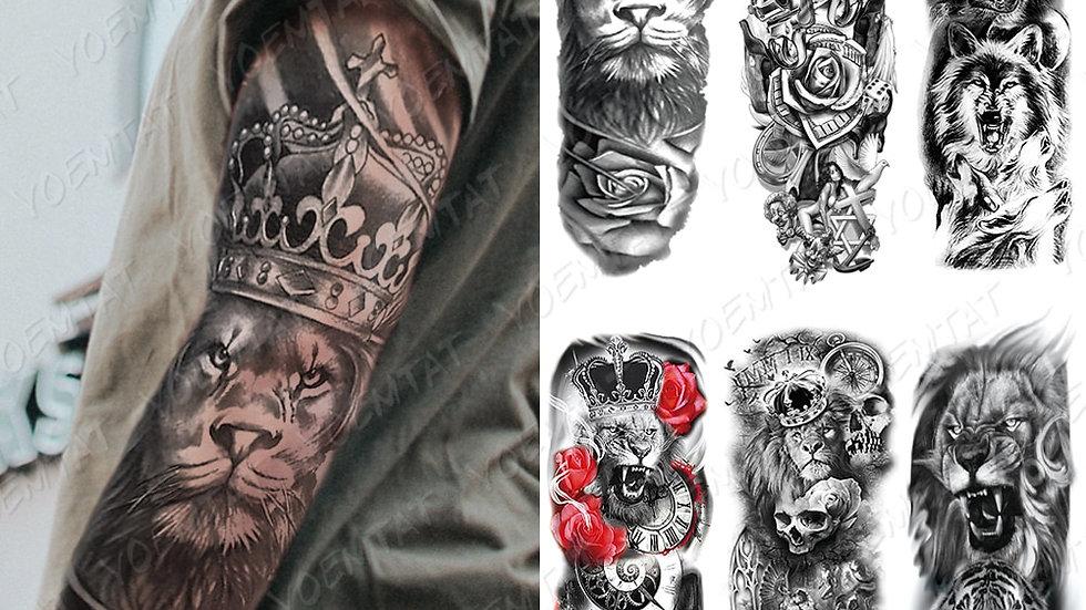 Large Arm Sleeve Tattoo Lion Crown King Rose Waterproof Temporary Tattoo Sticke