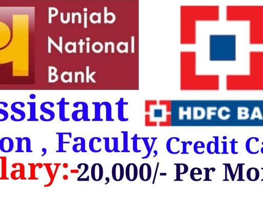 Punjab National bank & HDFC Bank - Assistant, Peon , Credit Card , Peon| Private Jobs in Jaipur