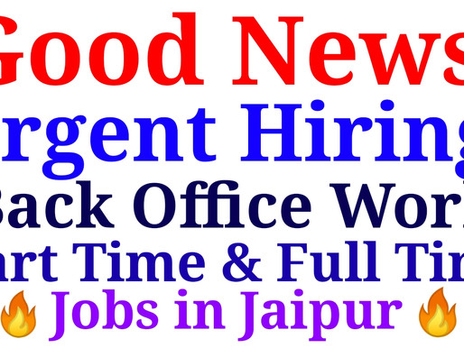 Computerized Work( Back Office )| Part time & Full time Private Jobs in Jaipur | Specialnaukri