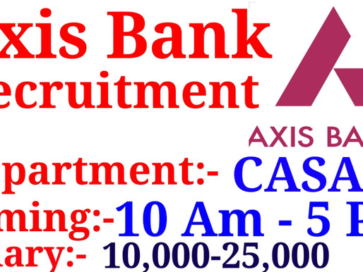Axix bank Recruitment | Jobs in Jaipur| Private Jobs in Jaipur for Fresher