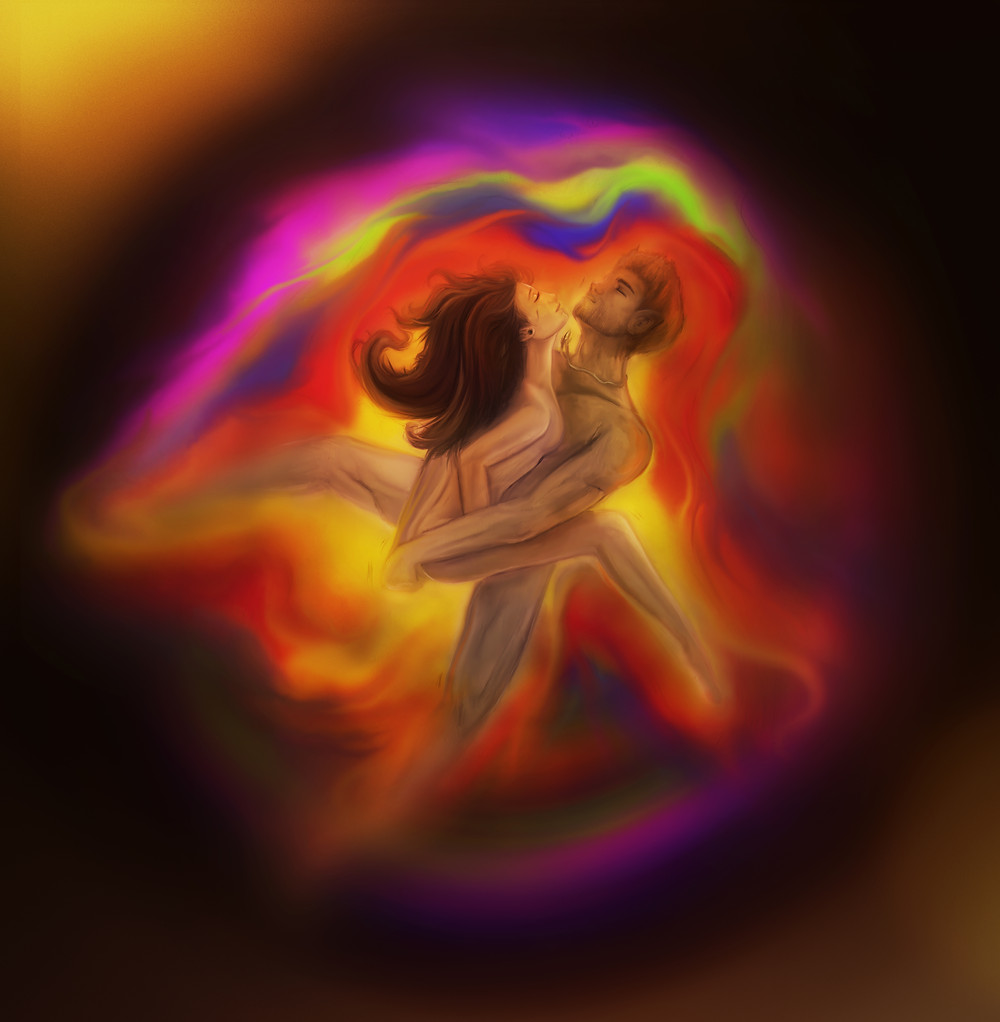 love energy fusion - digital drawing - nude couple making love - colourful aura - metaphysical love