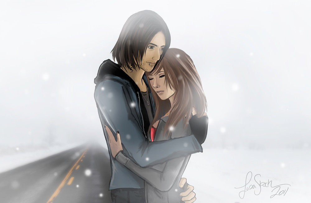 couple hugging each other in the snow - digital illustration - winter scene background photo made by Lisa Stock in Sherrington Québec