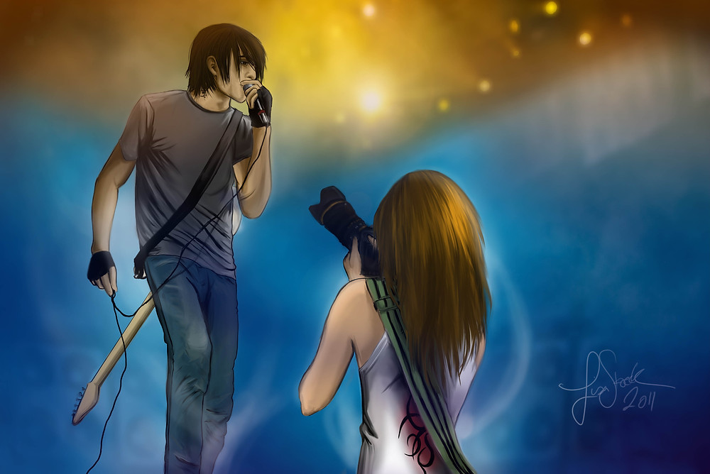 music couple - digital art - girl photographer and boy signer on stage
