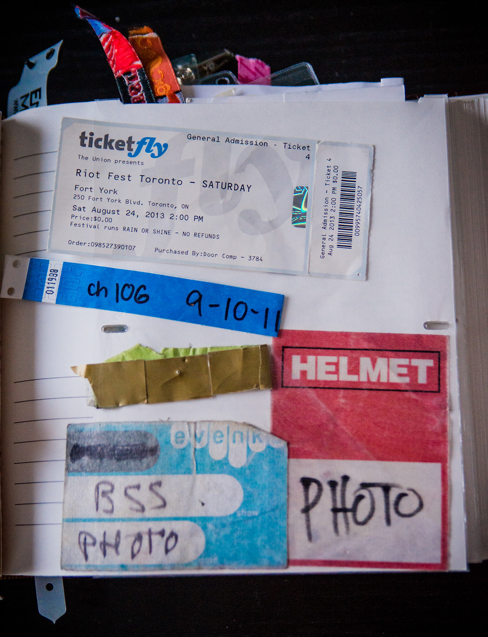riot fest toronto 2013 ticket - Helmet photo pass - Broken Social Scene pass