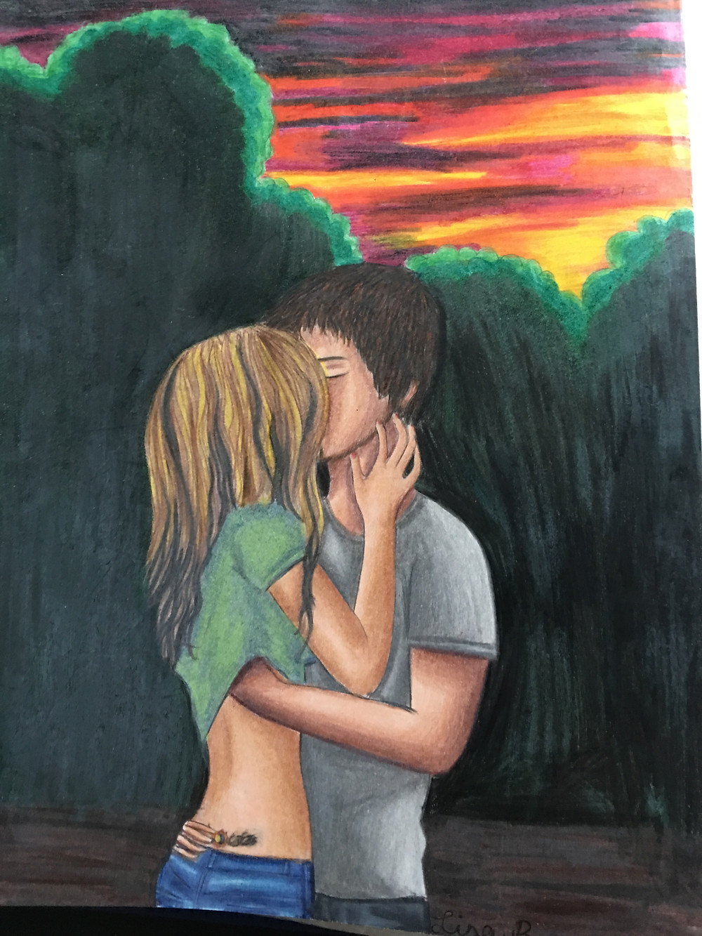 couple drawing - wood pencils - kissing with hand up shirt and sunset