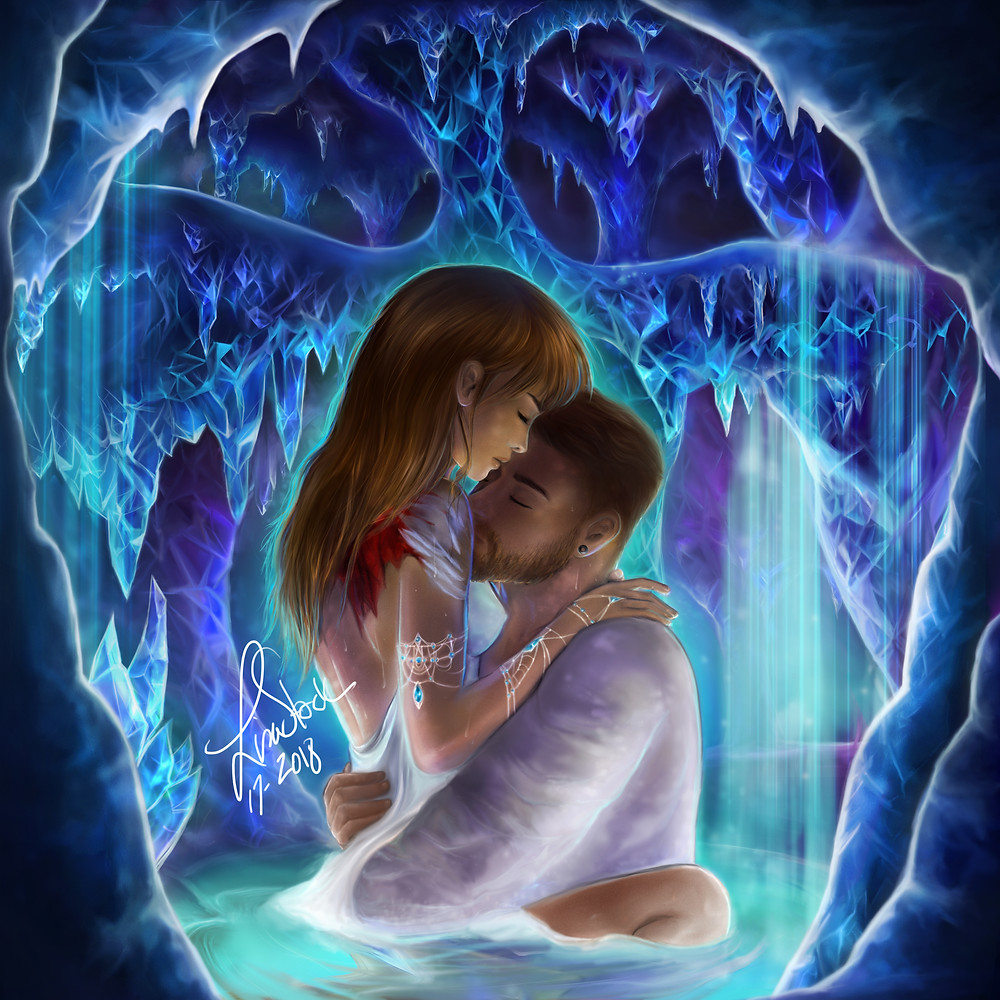 crystal love - digital art - couple drawing - fantasy setting scenery