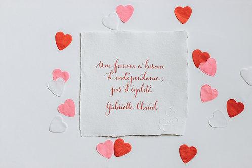 """Citation """"Coco"""" calligraphiée à la plume"""