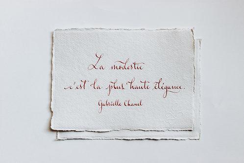 """Citation """"Gabrielle"""" calligraphiée à la plume"""