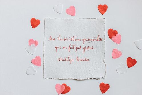 """Citation """"Marilyn"""" calligraphiée à la plume"""