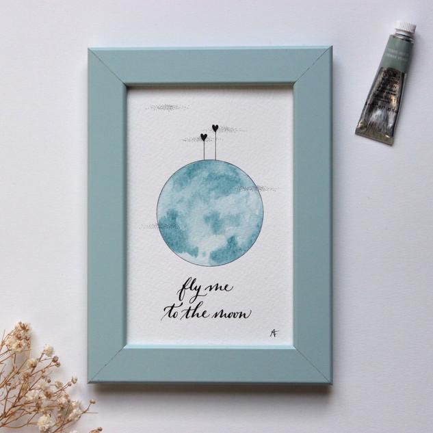 Affichette Fly me to the moon bleu poème