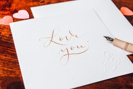 Carte Love you dorée