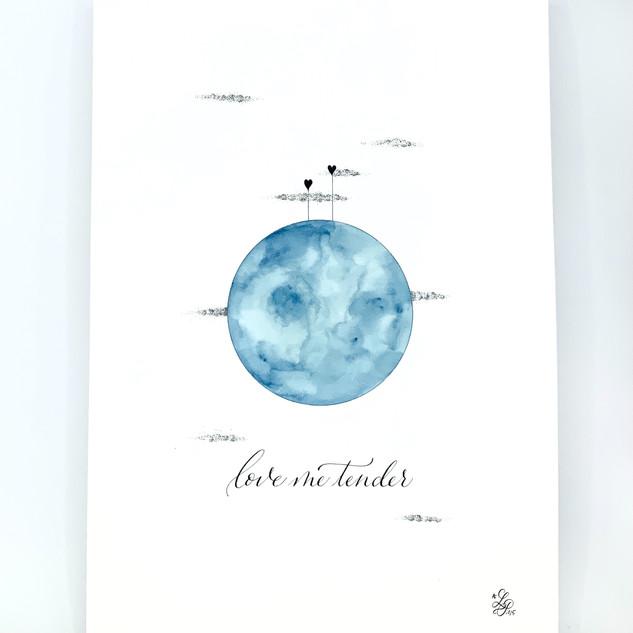 Affiche love me tender Bleu poème