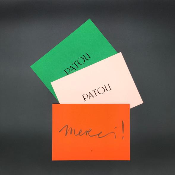 Cartes de remerciements Patou
