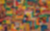 Título: NOSTALGIA DA INFÂNCIAI  Autor: Luiz Bhittencourt  Dimensão: 100 X 160 cm  Técnica: Retalho e óleo sobre tela