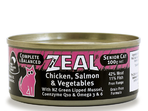 紐西蘭無穀物海魚,三文魚+蔬菜 高齡貓 100g