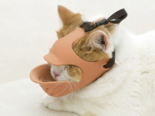 日本 OPPO 貓用面罩式鴨嘴口罩 深粉/ 淺啡色 S