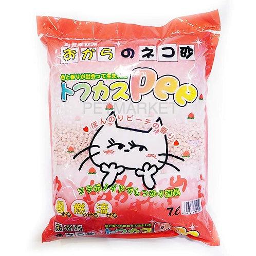 日本爽快Pee特強除臭豆腐貓砂 香桃味 7L