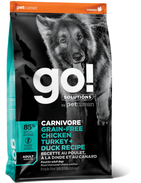 GO! SOLUTIONS 活力營養系列 無穀物 雞肉+火雞+鴨肉 成年 狗糧配方 3.5lb
