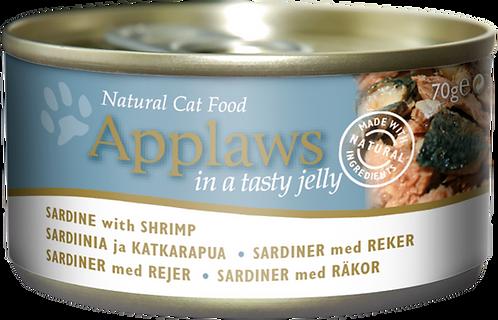 Applaws 天然貓啫喱罐頭系列 - 沙甸魚 + 蝦 70g