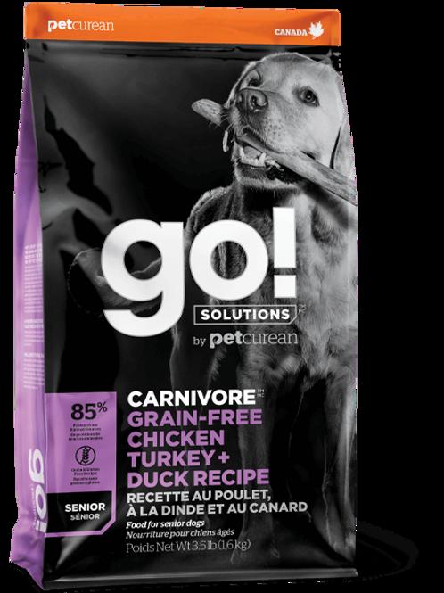 GO! SOLUTIONS 活力營養系列 無穀物雞肉+火雞+鴨肉老齡狗糧配方 22lb