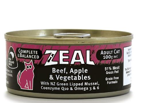 紐西蘭無穀物牛肉,蘋果+蔬菜 成貓 100g