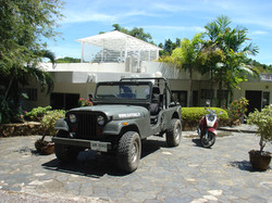jeep and motorbike