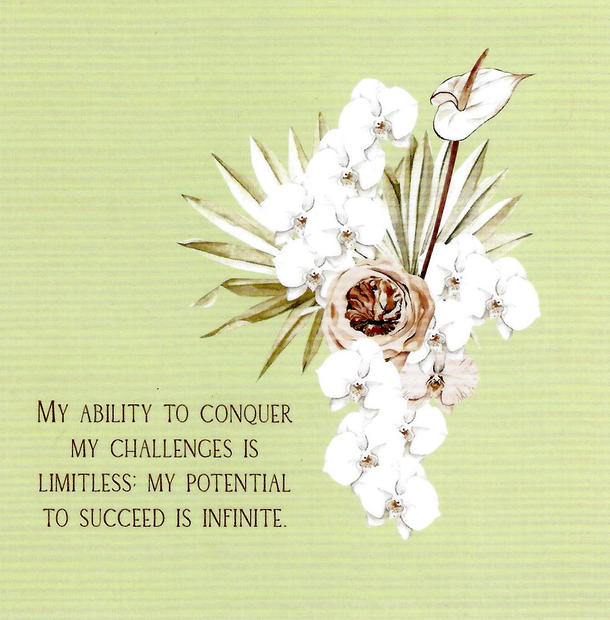 My ability to conquer my challenges is limitless. My potential to succeed is infinite.